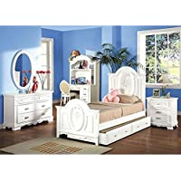 1PerfectChoice 4PC Flora collection Girls Youth room Bedroom Set Twin Size Bed White Combo Set