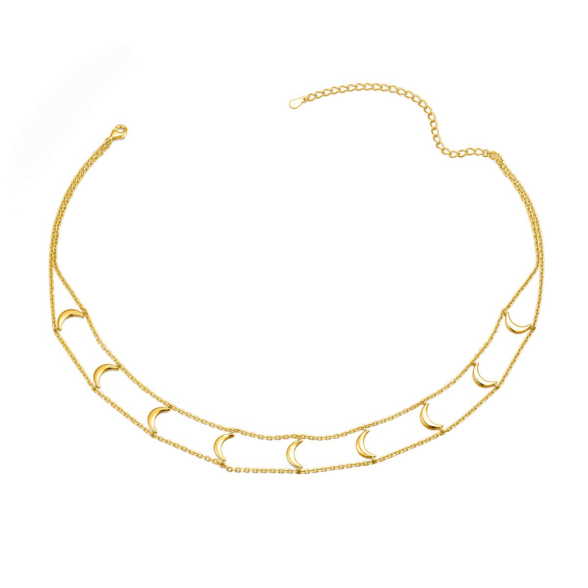 Short Necklace 925 Sterling Silver Double Layered Chain Crescent Moon Choker Necklace for Women Girls, 13'' + 3'' (Gold Plated)