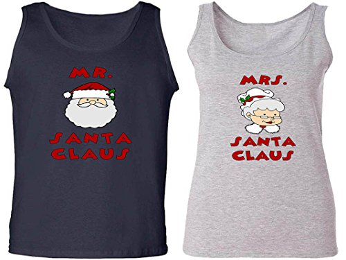 [Mr. & Mrs. Santa Claus - Matching Couple Love Tank Tops - His and Her Tanks] (Cheap Mrs Claus Outfit)