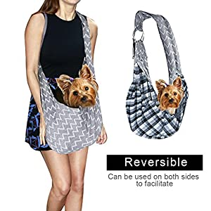 Accmor Reversible Pet Sling Carrier , Adjustable Dog Carrier Sling with Built-in Hook for Small Cat Dog, Hands-free Lightweight Puppy Carrier Bag Travel Tote Up to 11 lbs, Comfortable Machine Washable