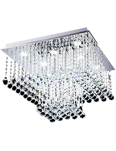 (Eplazalighting Ceiling Light Crystal Square Transparent Ball Beads Crystal Ceiling Mount Light Fixture Double LED Color Warm White Classice Simple Style for Bedroom Lights (Square))