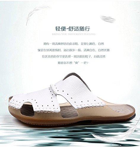 vera pelle sandali estate sandali sandali traspirante Spiaggia scarpa Uomini estate Tempo libero scarpa ,bianca,US=8,UK=7.5,EU=41 1/3,CN=42