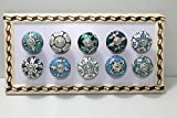 BLUE NIGHT Ornate green Floral Ceramic Knobs For Cabinets & Cupboards - Hand Painted Pulls