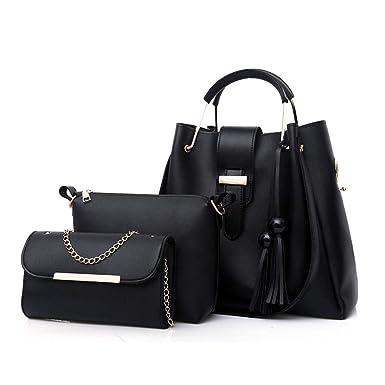 7a1a925be7b Black PU Leather Handbag+Shoulder Bag+Purse 3pcs Set Tote for Women with  Zipper