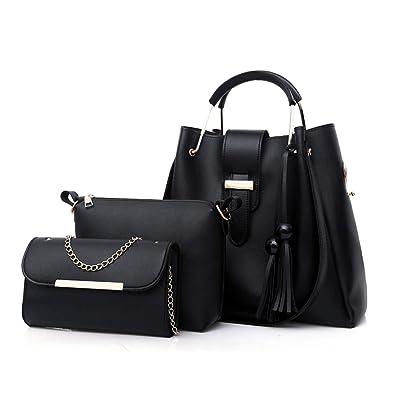 e318cc88ed Amazon.com  Black PU Leather Handbag+Shoulder Bag+Purse 3pcs Set Tote for  Women with Zipper and Pockets  Shoes