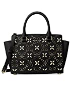 Michael Kors Women's Selma Medium Top Zip Satchel (Floral Black)