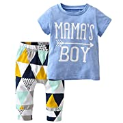 Baby Boys Summer Mama's Boy Short Sleeve T-Shirt Tops+Geometric Pants Clothes Set (0-6 Months, Blue)