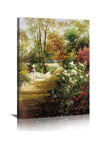 Butterfly Garden Print - YPY Vintage Flower Canvas Wall Art Colorful Butterfly Garden Scenery Landscape Oil Painting Prints for Rest Room Decoration (D, 18x24in)