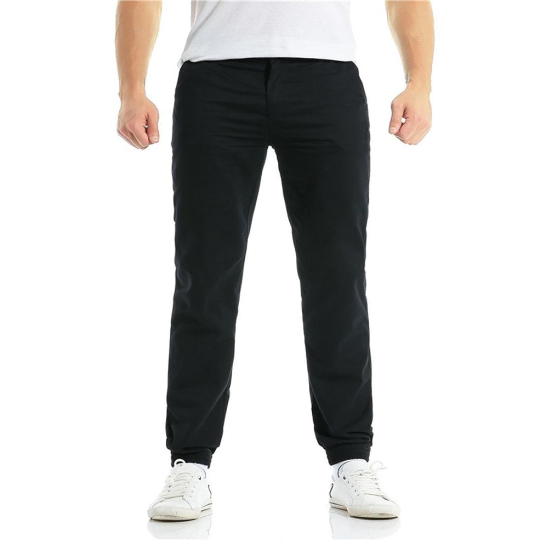 GREFER Fashion Men's Casual Drawstring Zipper Bunch of Foot Pant Pure Color Black