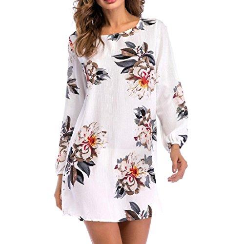 eba7ad0ed821 PAOLIAN Kleider Damen Langarm Minikleid Retro Elegant Blumen  Rundhalsausschnitt Cocktailkleid Tunika Partykleid Abendkleid Weiß vPOdjWD