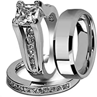 Marimor Jewelry His and Hers Stainless Steel Princess Wedding Ring Set & Beveled Edge Wedding Band