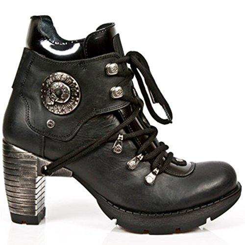 NEWROCK New Rock Stiefel Style M.TR010 S1 Schwarz Damen Stahl Absätze