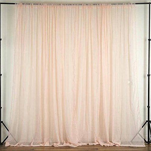 Efavormart 10FT Fire Retardant Blush Sheer Voil Curtain Panel Backdrop for Window Wall Decoration - Premium Collection