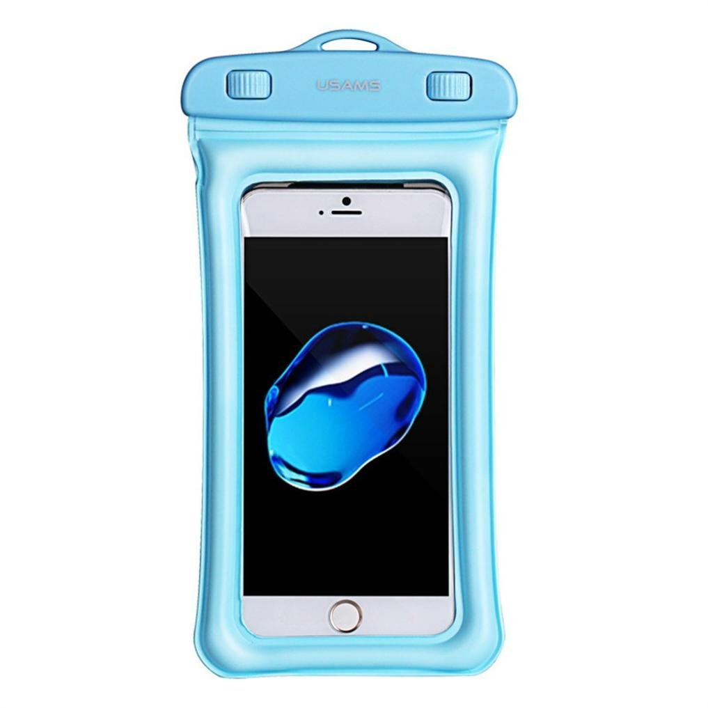 Sagton Waterproof Phone Case,Floating Pouch Night-Visible Smartphone Dry Bag for iPhone X/8/8 Plus/7/7 Plus/6S/6/6S Plus/SE/5S/5C,Samsung Galaxy S8/S8 Plus/Note 8 6 5,up to 6 inch diagonal (Sky Blue)