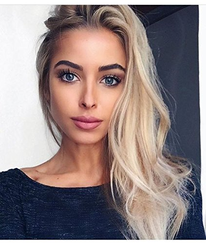 Givmiluck Lob(Long Bob Wig)Light Honey Blonde Wigs for Women Ombre Rooted Synthetic Blonde Hair Wigs with Dark Roots Shoulder Length Best Hair Wigs with Free Stochastic Choker