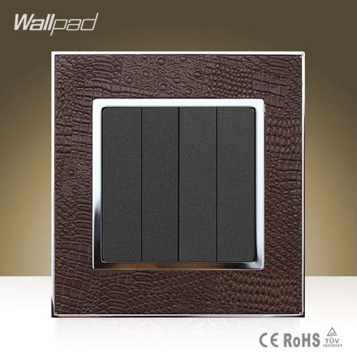 New Arrival Wallpad Modula 4 Gang 2 Way Goats Brown Leather 110V250V Double Control 4 Gang Push Button Switch