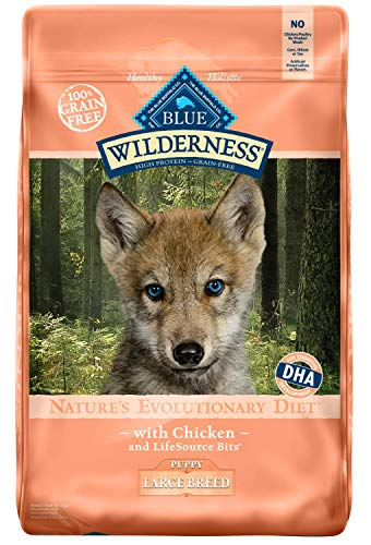 BLUE Wilderness BUA-289 Buffalo High Protein Grain Free, Natural Puppy Large Breed Dry Dog Food, Chicken, 24 lbs.