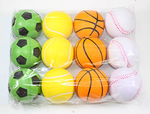 12 Sports Squeeze Ball (Soccer Basket Tennis Base Ball) Stress Relief Finger Therapy After Hand Exercise Grip Ball