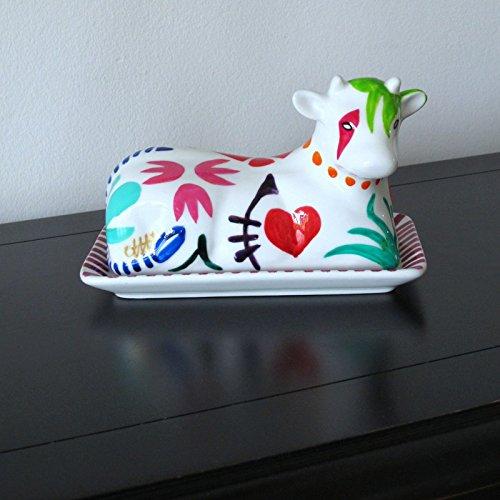 coffret rose et noir /'Geo/' dessin original coffret rose et noir Caroline @ CHH Design CBDG Geo dessin original En bo/îte cadeau peint main En boîte cadeau en Forme de Vache Beurrier en Porcelaine C/éramique