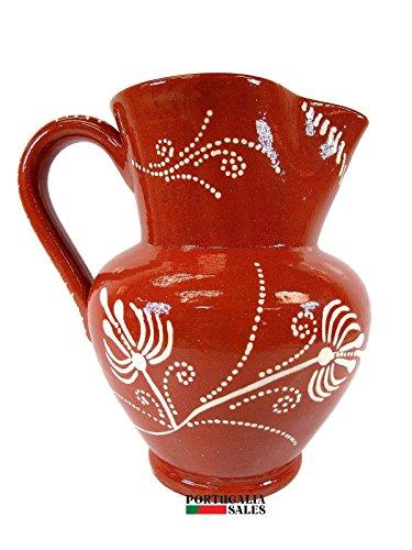 Portuguese Pottery Glazed Terracotta Hand Painted Wine Pitcher (4 Cups - 1 (Glazed Pottery Pitcher)
