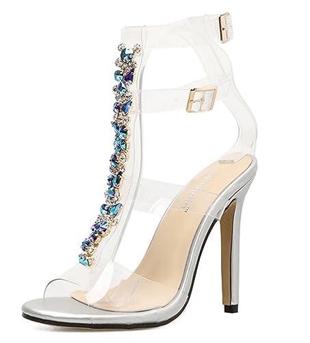 SHOWHOW Damen Sexy Strass Transparent T-Spangen Cut Out High Heels Sandaletten Silber 37 EU UUELgy