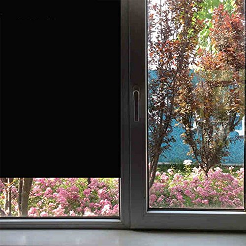 HOHO Black Window film Opaque Blackout Privacy Glass Window Tint Stickers for Home Office Building 60''x66ft by HOHO