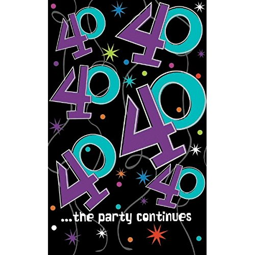 Amscan 579795 The The Party Continuous 40th Birthday Table Cover, 54