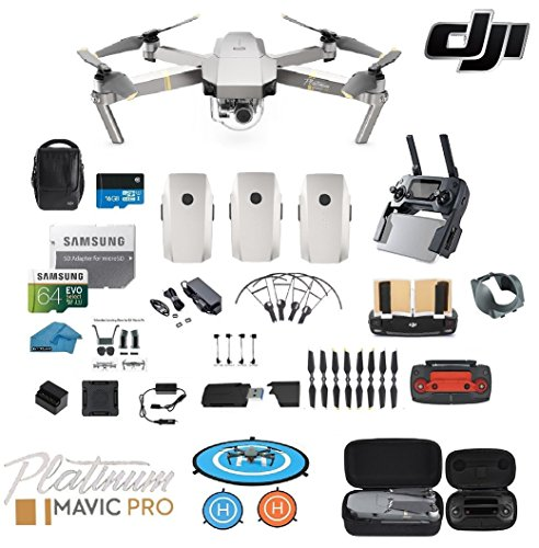 DJI Mavic Pro Platinum - Drone - Quadcopter - Fly More Combo - with 3 Batteries - 4K Professional Camera Gimbal - Bundle - Kit - with Must Have - Pro Maverick