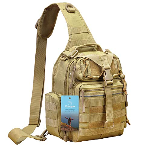 Prospo Tactical Sling Backpack Military Small Development Bag Molle Rover Chest Shoulder Pack Range EDC One Strap Daypack Hiking Camping Treking(Tan)