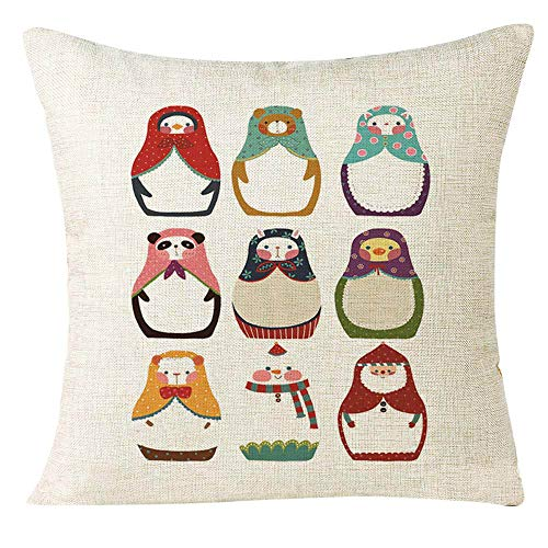 Pausseo Merry Christmas Animal Pillowcase, Xmas Pillow Covers Cushion Sofa Waist Throw Pillowcase Home Decoration Office Car Bed Decor Wrinkle Resistant Hypoallergenic Gift Pillowslip,45x45cm -