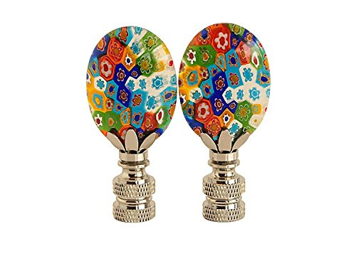 - Colorful Millefiori Glass Lamp Finials, A Matching Pair