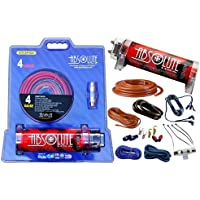 Absolute USA KITCAP4GARD 3.0 Farad Power Capacitor 4 Gauge Car Amplifier Installation Wiring Complete Kit (Red)