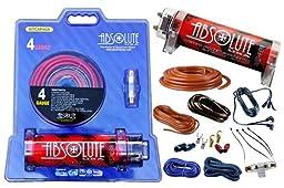 Absolute USA KITCAP4GARD 3.0 Farad Power Capacitor 4 Gauge Car Amplifier Installation Wiring Complete Kit (Red)