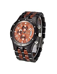 Bewell Men Wooden Bangle Quartz Wrist Watch with Multicolored 4 Dial Date Analog Display W109D