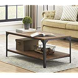 O&K Furniture Industrial Rectangular Coffee Table with Storage Bottom Shelf, Brown,1-Pcs