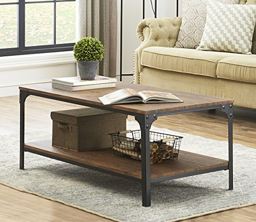 O&K Furniture Industrial Rectangular Coffee Table with Storage Bottom Shelf, Brown