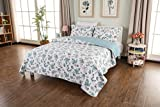 CozyLand Vintage Floral Lightweight with Designers 100% Cotton Soft 3 Piece Queen Size Patchwork Quilt Set Leaves