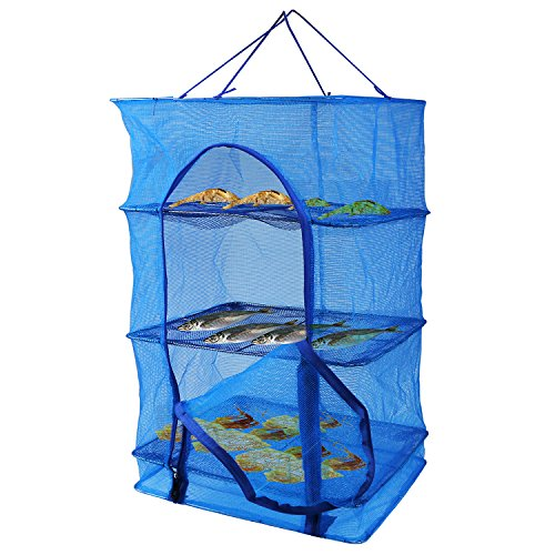 Fish Mesh Hanging Drying Net Food Dehydrator - Durable Folding 4 Layers Fish Vegetable Dishes Dryer Net Drying Rack (40x40x65cm)