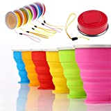 Wealers Collapsible Travel Mug Silicone Bpa-free 7 Ounce Foldable Cup Dishwasher Safe Pop