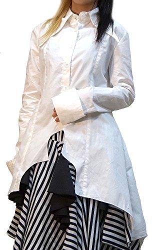 [Hippies Women's Punk VKei Tailcoat Bat Dress Shirts Blouses One Size,White 4937] (Womens Tailcoat Costume)