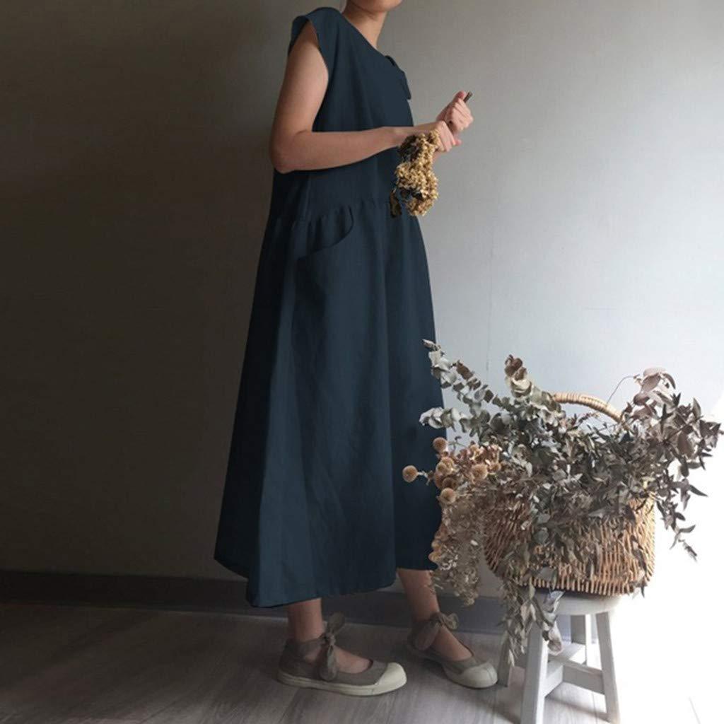 Women's Cotton Linen Dresses Cap Sleeve Summer Maxi O Neck Dress with Pockets Navy by Jianekolaa_Dress (Image #5)