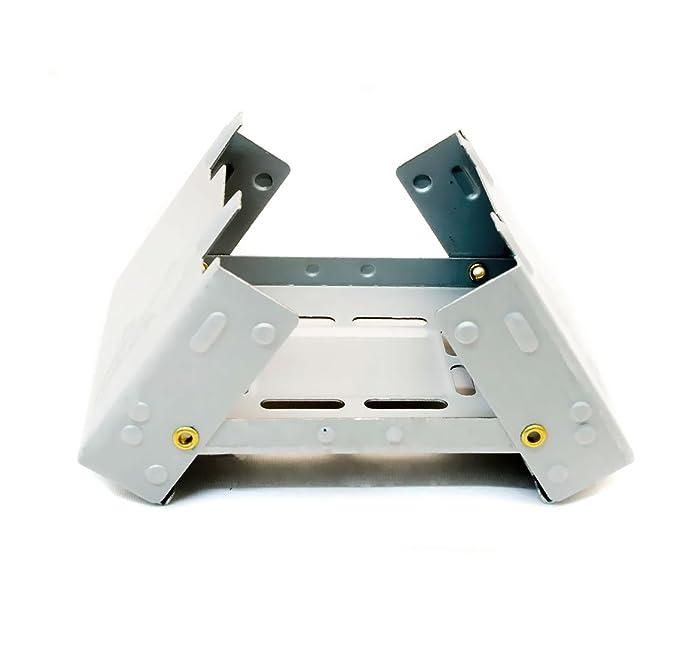 Hornillo compacto de Outdoor SAXX® para combustible fósil seco, plegable, para calentar latas, ollas y sartenes, para acampadas y festivales, ...