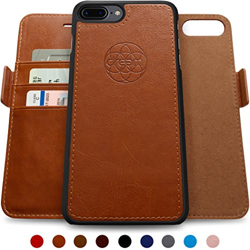 Dreem iPhone 7-8 Plus Wallet Case, Magnetic Detachable Slim-Case, Fibonacci Luxury Vegan Leather, RFID Protection - Caramel Brown