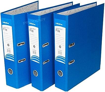 3 archivadores de palanca de polipropileno, tamaño A4, grandes, para oficina, papel, carpetas de almacenamiento (mezcla de color amarillo verde, azul), color azul A4: Amazon.es: Oficina y papelería