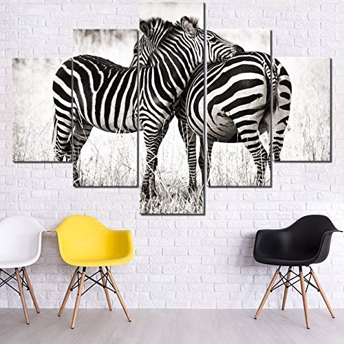 House Decorations Living Room Black and White Stripe Paintings South Africa Zebras Pictures Multi Panel Canvas Wall Art Giclee Modern Artwork Home Decor Framed Stretched Ready to Hang(60''Wx40''H)