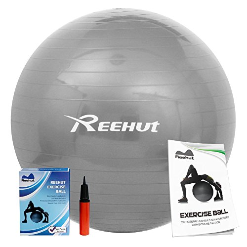 Reehut Anti-Burst Core Exercise Ball w/ Pump & Manual for Yoga, Workout, Fitness (Grey, 75cm)