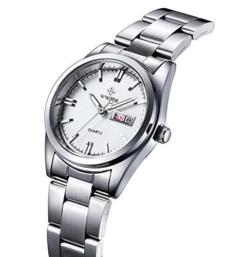 Women Fashion Watch Quartz Waterproof Stainless Steel Round Date Analog Casual Business Lady Watches (White)
