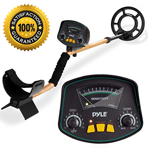 """PyleSport Metal Detector - Waterproof Search Coil Extendable Locating Arm 41.3"""" to 51.2"""" w/Adjustable Sensitivity and Headphone Jack - Built-in Speaker w/Detection Ping Alert Battery Operated PHMD53"""