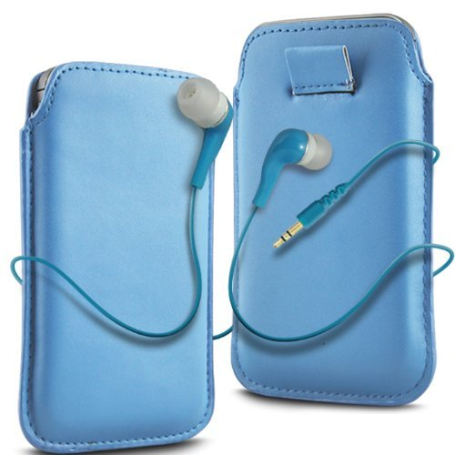 N4U Accessories Blue Leather Pull Flip Tab Case Cover Pouch