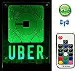 UBER Sign Logo LED Light Rideshare Decal Sticker with Remote Control Adjustable Multi-Color Multi-Mode with 4 Bigger Stronger Suction Cups Size 7.9''×5.9''